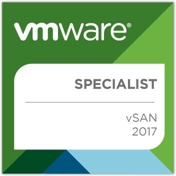 VMware vSAN 2017 Specialist badge